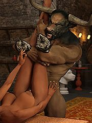 By the gods, so much cum - The Lair of the minotaur  by 3D Collection
