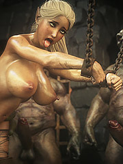 A huge hole in a pretty captive - Elf slave 7 Double trouble by Jared999d